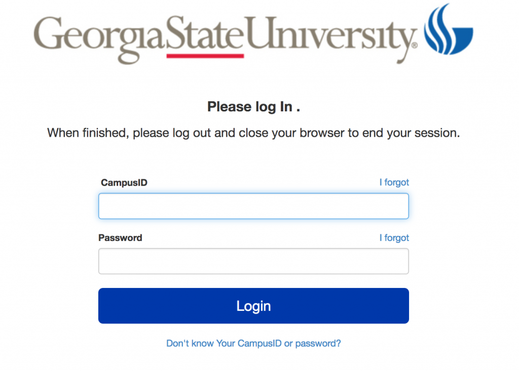 GSU Log in page